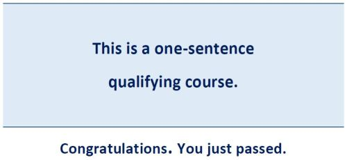 one sentence qualifying course